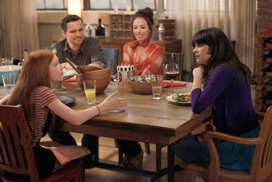 "NEW GIRL:  Russell's daughter (guest star Annalise Basso, L) develops a teenage crush on Nick  (Jake Johnson, second from L) when Jess (Zooey Deschanel, R) babysits her for the weekend in the ""Kids"" episode of NEW GIRL airing Tuesday, April 17 (9:00-9:31 PM ET/PT) on FOX. Also pictured:  Guest-star Chloe Bridges (second from R).  ©2012 Fox Broadcasting Co.  Cr:  Greg"