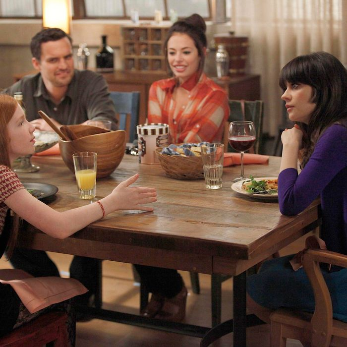 Russell's daughter (guest star Annalise Basso, L) develops a teenage crush on Nick (Jake Johnson, second from L) when Jess (Zooey Deschanel, R) babysits her for the weekend in the