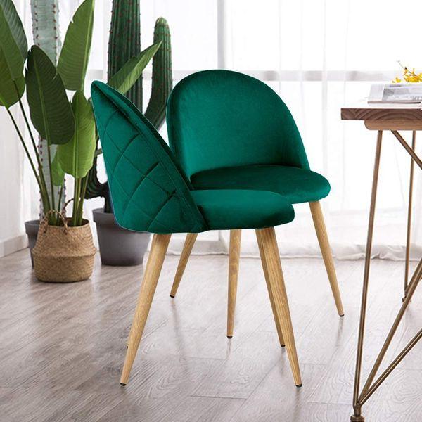 TUKAILAI 2PCS Dining Chair Velvet Upholstered Lounge Chair