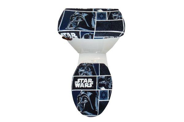Darth Vader Fleece Block Fabric Toilet Seat Cover Set