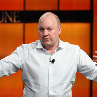 Marc Andreessen, co-founder and general partner of Andreessen Horowitz, speaks during the