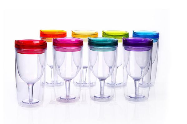 Cupture Insulated Wine Tumbler Cup With Drink-Through Lid, 8 Pack
