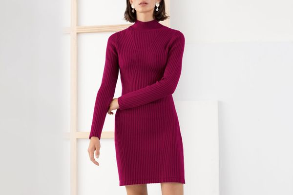 & Other Stories Ribbed Stretch Mock Neck Mini Dress