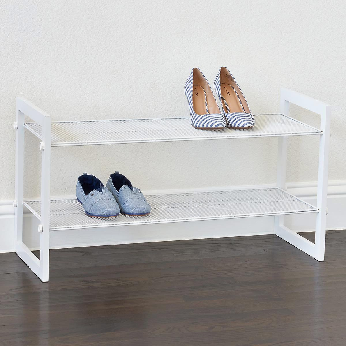 The Container Store White 2-Tier Stackable Mesh Shoe Shelf