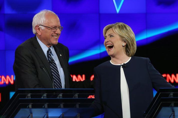 Bernie Sanders and Hillary Clinton at the presidential debate on October 13, 2015 in Las Vegas, Nevada.