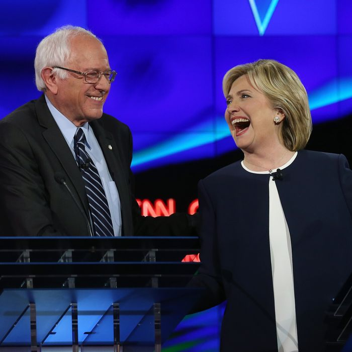 Bernie Sanders and Hillary Clinton at the presidential debate on October 13, 2015 in Las Vegas, Nevada.