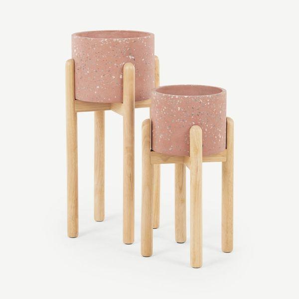 Hakuun Set Of Two Terrazzo Plant Pots With Rubberwood Legs, Pink