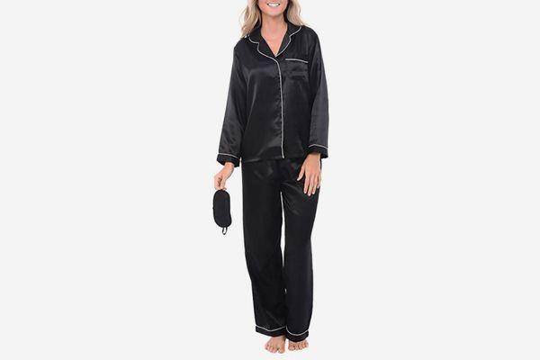Satin Pajamas, Long Button-Down Pj Set and Mask