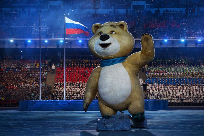 SOCHI, RUSSIA - FEBRUARY 07:  Olympic mascots the Polar Bear waves during the Opening Ceremony of the Sochi 2014 Winter Olympics at Fisht Olympic Stadium on February 7, 2014 in Sochi, Russia.  (Photo by Pascal Le Segretain/Getty Images)