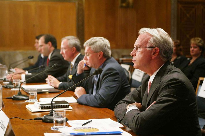 Third panel at the U. S. Senate Committee on Governmental Affairs subcommittee on Financial Management, the Budget, and International Security on April 20, 2004 in the Dirksen Senate Office Building. (left to right: Jack T. Ciesielski, president, R.G. Associates, Damon Silvers, Associate General Counsel, the American Federation of Labor, Donald P. Delves, President,The Delves Group, Mark Heesen, President, Venture Capital Association, James K. Glassman, Resident Fellow, American Enterprise Institute.