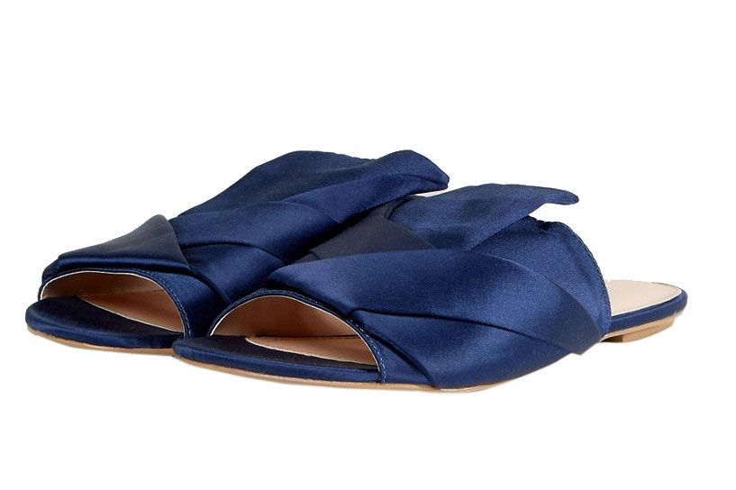 Coco Wren Oversized Bow Flat Mule Sandal