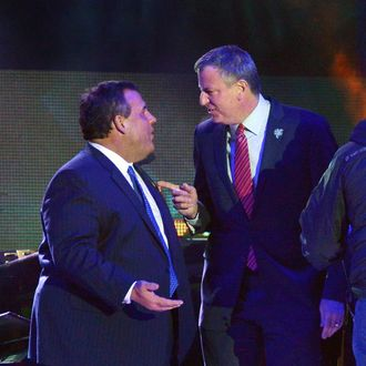 Governor of New Jersey Chris Christie (L) and New York City Major Bill de Blasio attend the Super Bowl Kickoff Spectacular at Liberty State Park on January 27, 2014 in Jersey City, New Jersey.