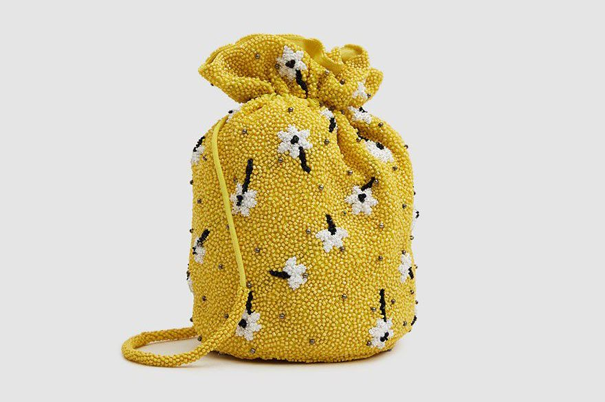 Ganni Hand-Beaded Bag in Minion Yellow