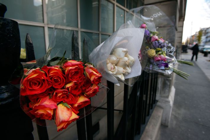 Flowers in Jacintha Saldanha's memory placed outside King Edward II's Hospital.