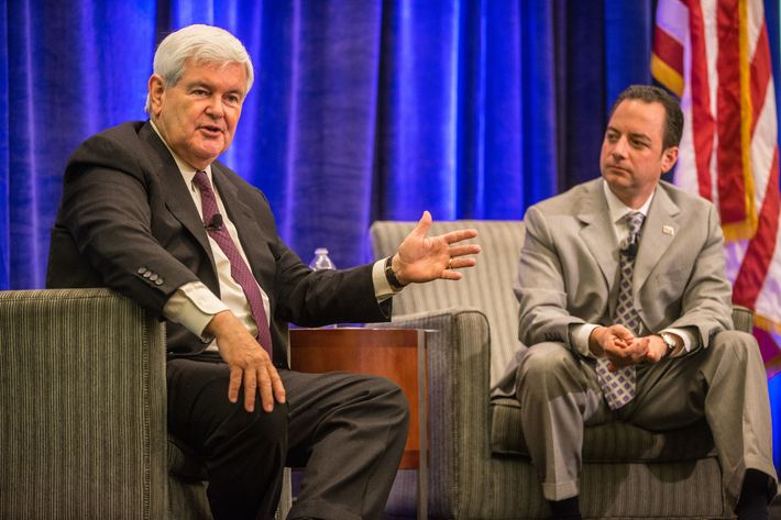 BOSTON - AUGUST 14: Former Speaker of the House Newt Gingrich, left, and Republican National Committee Chairman Reince Priebus speak at the Republican National Committee's Summer Meeting held at The Westin Boston Waterfront Hotel. (Photo by Aram Boghosian for The Boston Globe via Getty Images)