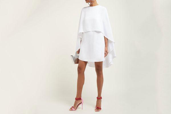 Sara Battaglia Cape Crepe Mini Dress