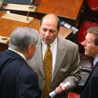 ALBANY, NY - MARCH 11: New York State Senator Thomas W. Libous (C) New York State Senator Thomas K. Duane, (L) and New York State Senator David J. Valesky talk on the Senate Floor of the State Capitol March 11, 2008 in Albany, New York. Eliot Spitzer apologized to his family and the public in a news conference March 10, 2008 in New York City, but did not directly address the reports of his being linked to a prostitution ring. (Photo by Daniel Barry/Getty Images)