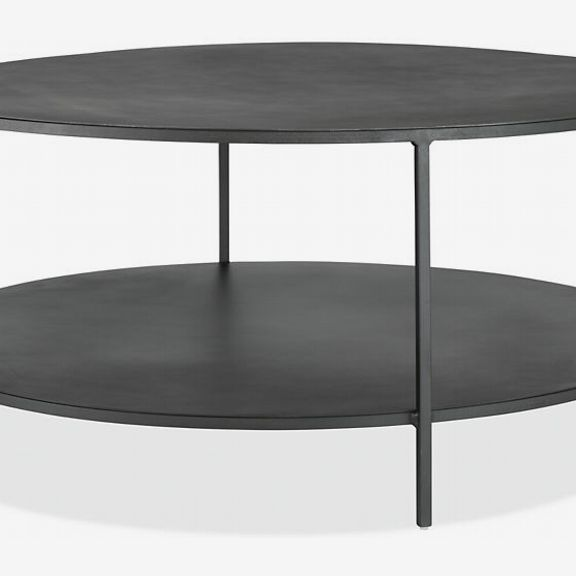 Room and Board Slim Round Coffee Table in Natural Steel