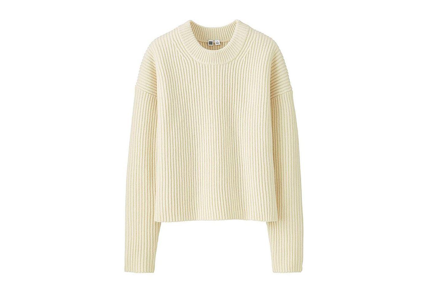 Women U Lambswool Cropped Crewneck Sweater