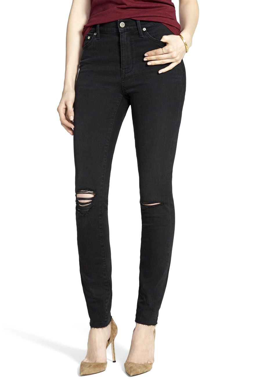 Black denim skinny jeans womens