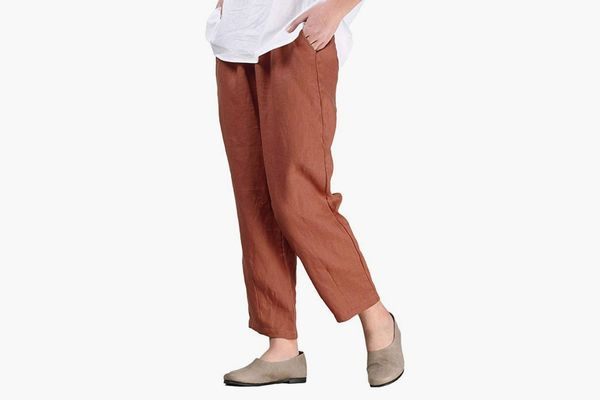 Mordenmiss Women's Linen Ankle Pants Capris Cropped Tapered Trousers with Pockets