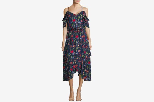 Parker Cold Shoulder Silk Floral Midi Dress