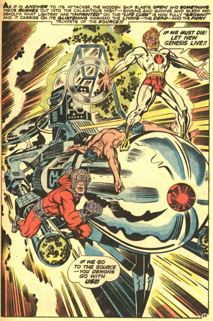 Awesome Noble Orion and Lightray ride a projectile in The New Gods Photo DC Entertainment Jack Kirby