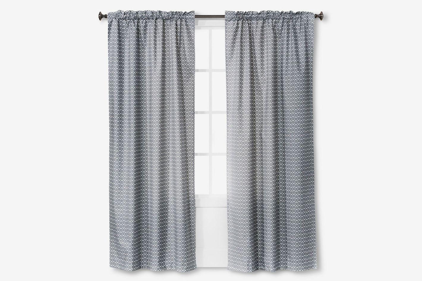 Light Blocking Gray Chevron Curtain Panel