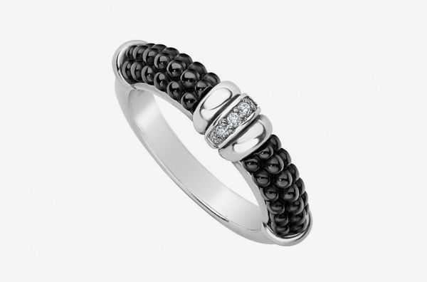 Black Caviar Diamond Stacking Ring