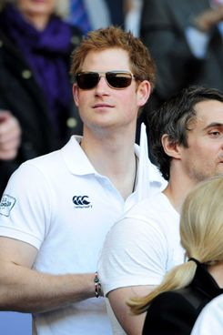 Prince Harry looks on during the RBS Six Nations match between England and Wales at Twickenham Stadium on March 9, 2014 in London, England.