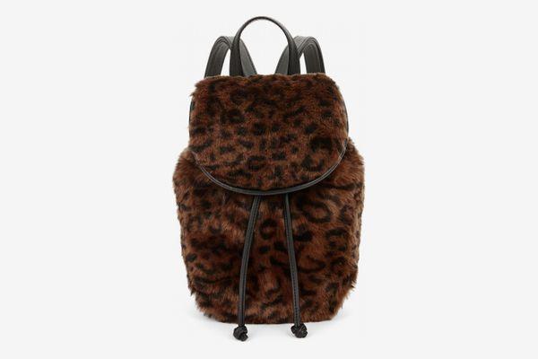 Scoop Faux Fur Leopard Mini Backpack