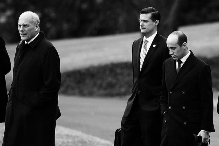 White House chief of staff John Kelly, Staff Secretary Rob Porter, and senior adviser Stephen Miller.