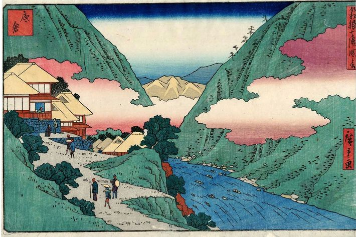 woodblock print hot spring hakone, japan
