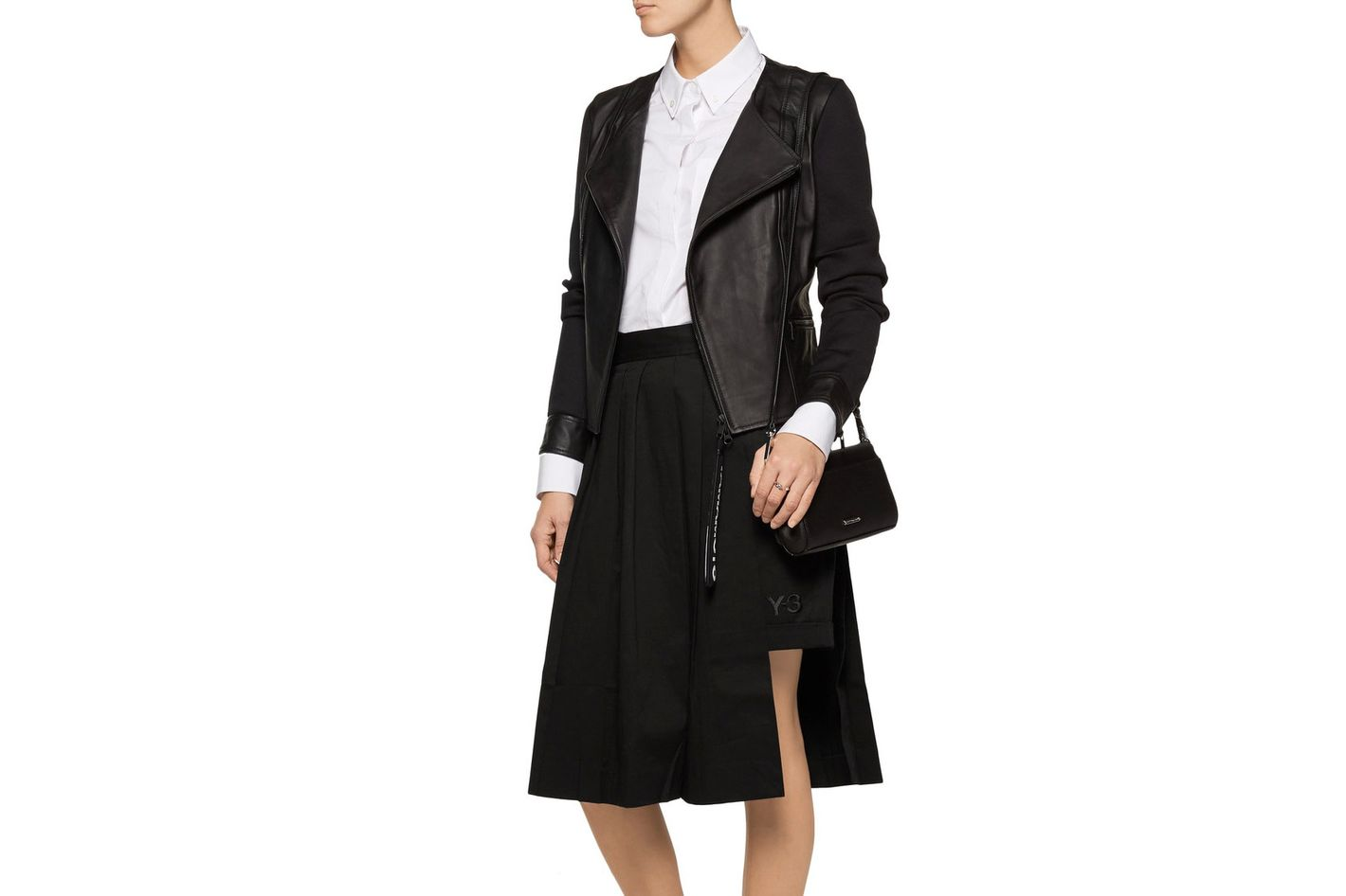 Y-3 + Adidas Originals Layered Skirt-Effect Cotton-Poplin Shorts