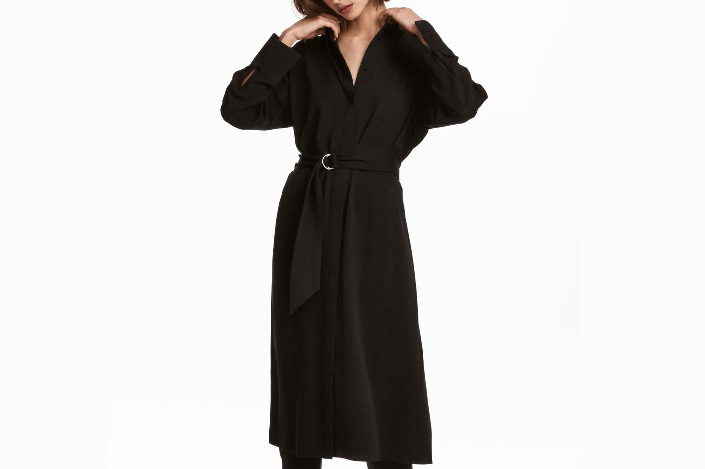 H&M V-Neck Belted Shirt Dress