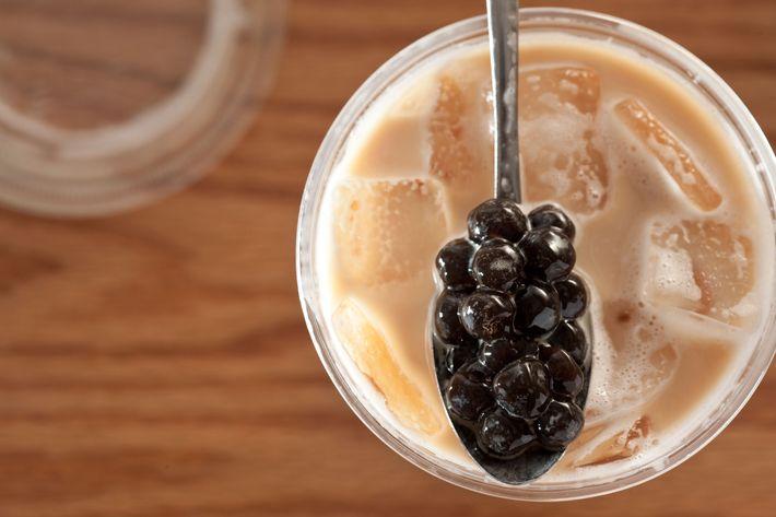 Classic milk tea with boba.