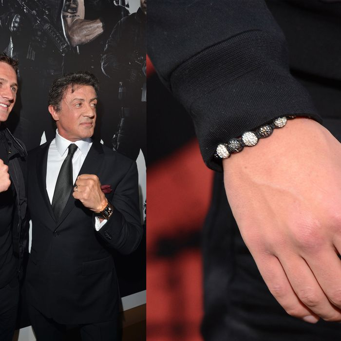 Lochte, Stallone, and sparkly bracelet.