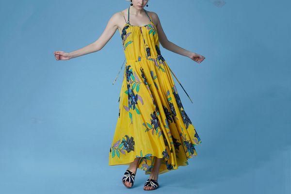 Diane von Furstenberg Cinch Waist Maxi Dress, Argos Pineapple