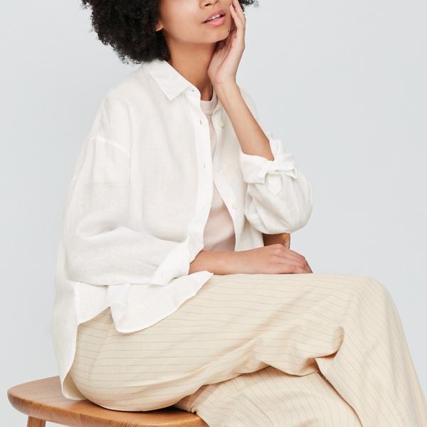 Uniqlo Women's Premium Linen Long-Sleeved Shirt