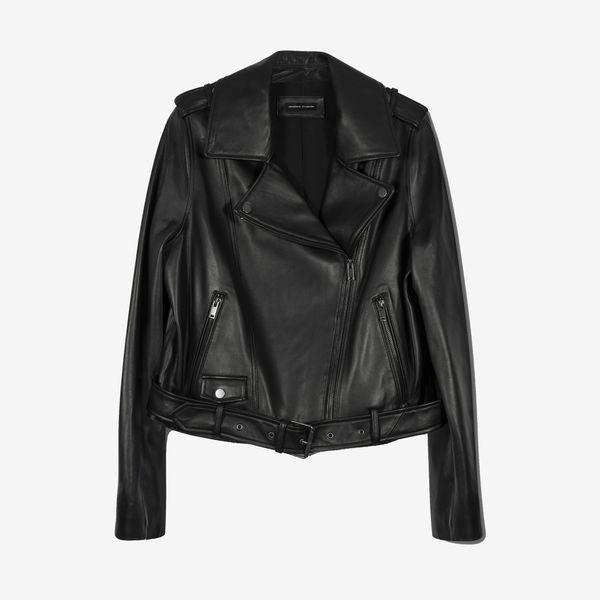 Leeron Leather Moto Jacket - Black