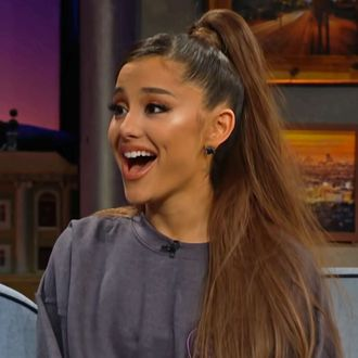 Ariana Grande reacts to her Billboard hits on James Corden.