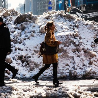 People walk past a pile of snow on February 14, 2014 in Times Square in New York City. New York and surrounding areas have been pummeled with heavier than usual snowfall this year, including a storm yesterday that dumped 8-12 inches of snow.