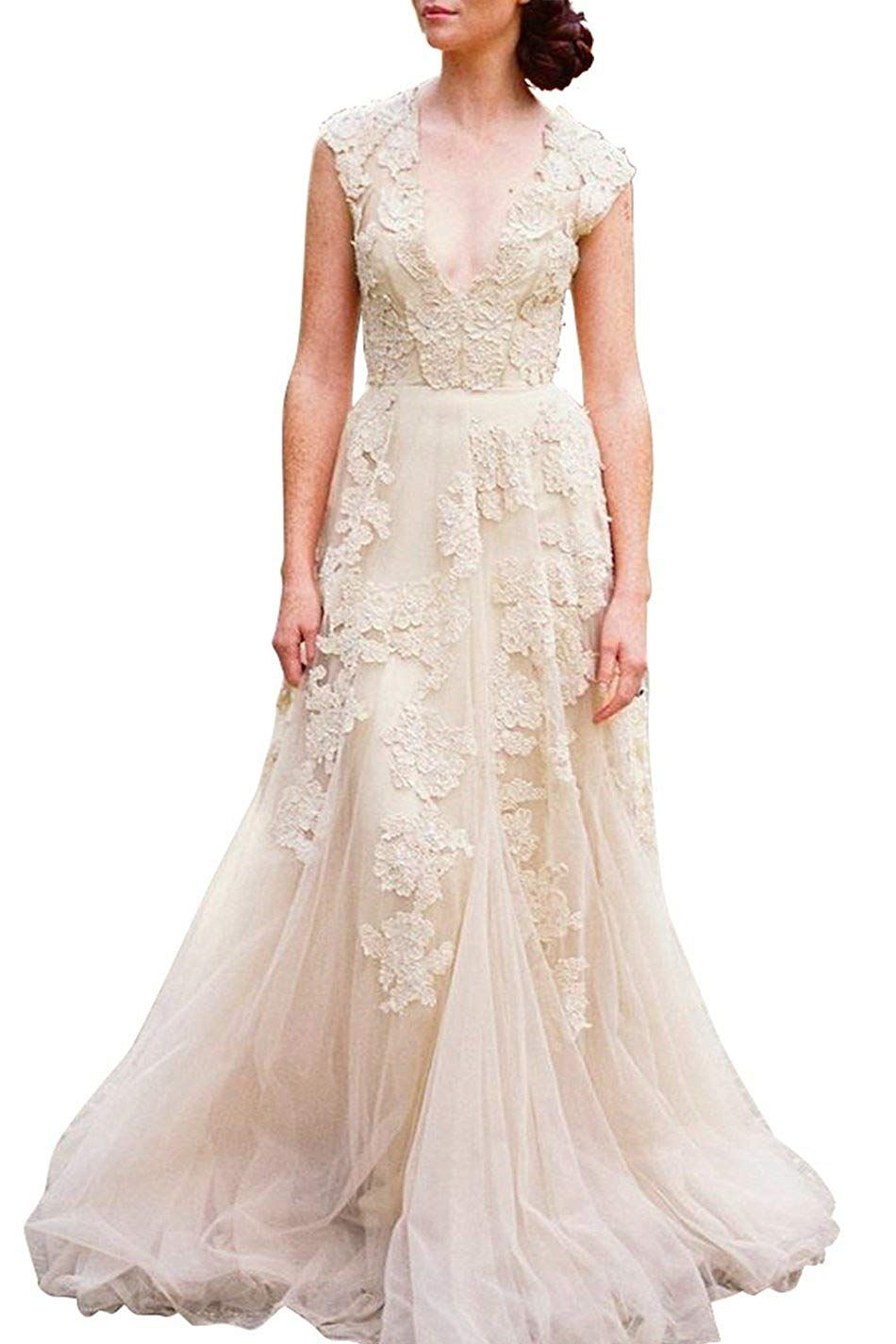 83fa188e5 Ruolai ASA Bridal Women's Vintage Cap Sleeve Lace Wedding Dress