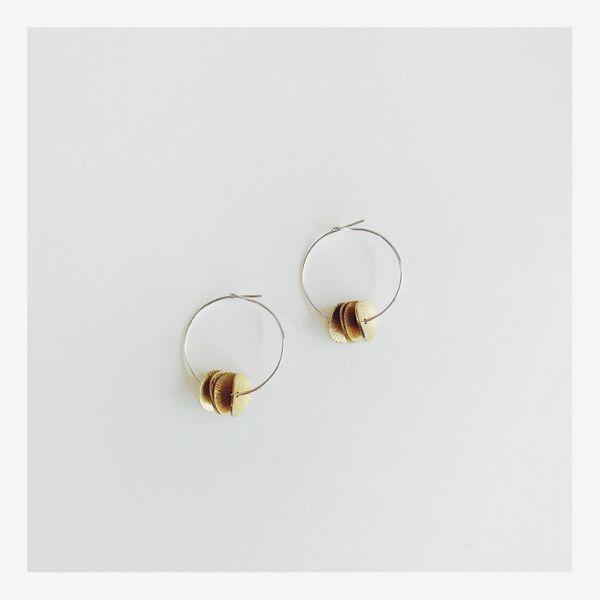 Silver Hoop Earrings with Brass Engraved Discs