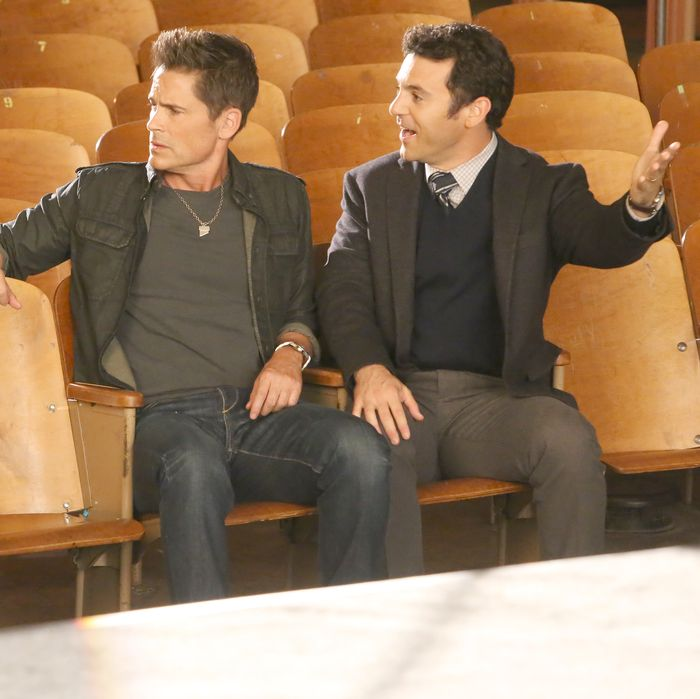 THE GRINDER: L-R: Guest star Michael Showalter, Rob Lowe and Fred Savage in the