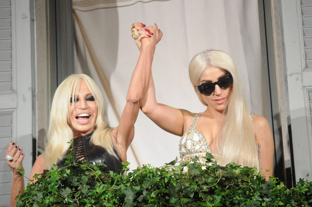 (L-R) Donatella Versace and Lady Gaga  are seen at Palazzo Versace  on October 1, 2012 in Milan, Italy.