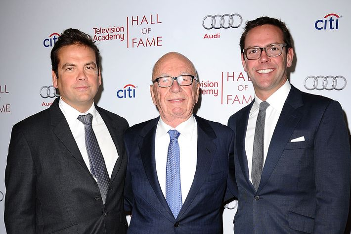 Lachlan Murdoch, Rupert Murdoch and James Murdoch attend the Television Academy's 23rd Hall of Fame induction gala at Regent Beverly Wilshire Hotel on March 11, 2014 in Beverly Hills, California.
