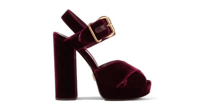 Velvet Platform Sandals - Magenta Prada Free Shipping Hot Sale Discount Best Prices Oqk8Ff
