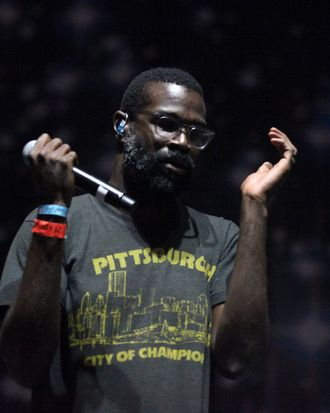 Musician Tunde Adebimpe of the band TV on the Radio performs onstage at the Carrie Stage during Day 1 of FYF Fest 2013 at Los Angeles State Historic Park on August 24, 2013 in Los Angeles, California.