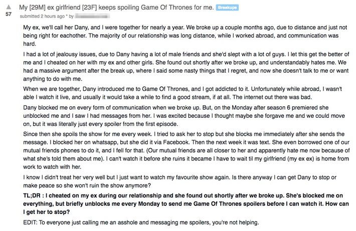 Game of Thrones–Loving Ex Gets Revenge With Spoilers